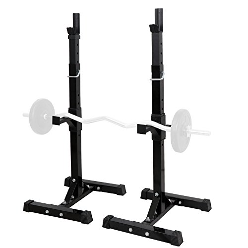 ZENY Set of 2 Barbell Stand Dumbbell Power Rack Adjustable 42''- 66'' Standard Sturdy Steel Squat Stands Fitness Free Bench Press Stands Home Gym Exercise Fitness Training by ZENY
