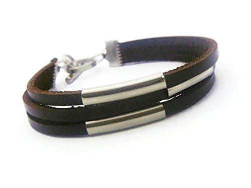 ZVACE Jewelry Quality Mens Womens Brown Leather Wristband Cuff Bracelet, SA3