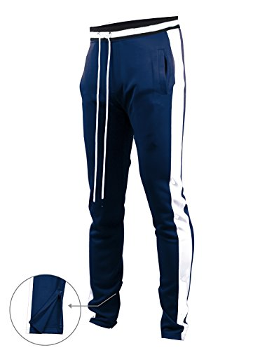 Jogger Track (SCREENSHOTBRAND-S41700 Mens Hip Hop Premium Slim Fit Track Pants - Athletic Jogger Bottom with Side Taping-Navy-2XLarge)