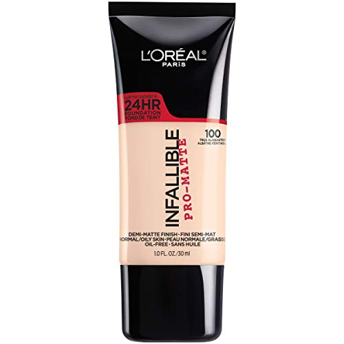 L'Oreal Paris Makeup Infallible Pro-Matte Liquid Longwear Foundation, True Alabaster 100, 1 fl. oz.