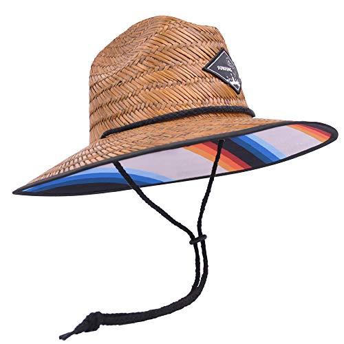 Fispo Men's Classic Straw Hat (Suring Rainbow, One Size)