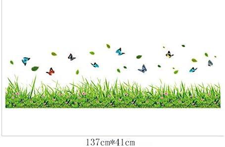 Camera Da Letto Soggiorno Baseboard Adesivi Da Parete Removibili Stickers Murali Decorazione Murale Ufengke Verde Erba Fiori Farfalle Adesivi Murali Teachfornigeria Org