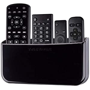 TotalMount Hole-Free Remote Holder – Eliminates Need to Drill Holes in Your Wall (for 3 or 4 Remotes – Black – Quantity 1)