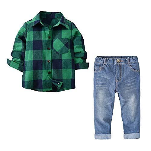 (Yilaku Boys Long Sleeve Flannel Button Down Set Kids Jeans Clothing Set (Green, 3T) )