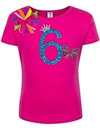 Little Girls 6th Birthday Rainbow Monarch Butterfly Shirt
