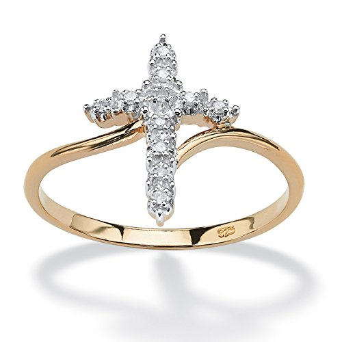 Over Sterling Gold Cross Silver - 18K Yellow Gold over Sterling Silver Diamond Accent Cross Ring Size 9