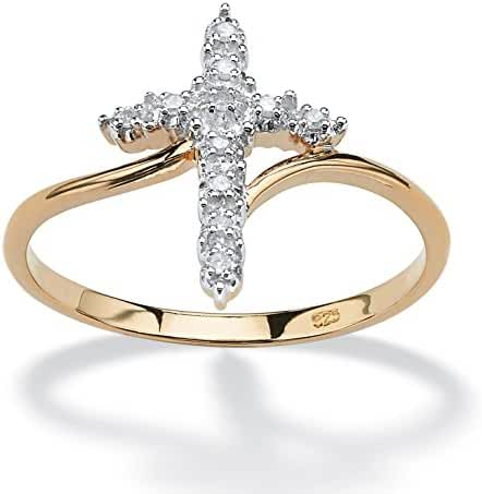 White Diamond Accent Cross Ring in 18k Gold over .925 Sterling Silver