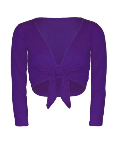 RageIT Women's Long Sleeve Tie Up Front Shrug M/L (UK 14-16) Purple