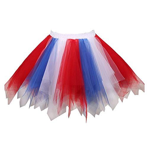 MizHome Womens Red&White&Blue Tutu Skirt Layered Tulle Skirt Adult Halloween Costumes