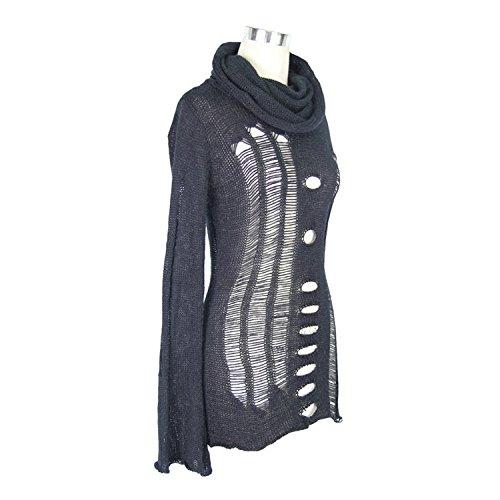 Devil Fashion Maglione gotico Punk Tattered Splicing maglione sottile Maglia alta manica lunga del colletto per le donne