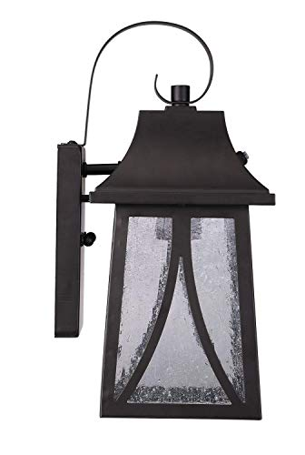 Cloudy Bay Outdoor Wall Lantern with Dusk To Dawn Photocell Sensor,Includes LED Filament Bulb,Oil Rubbed Bronze - One-light exterior wall lantern with dusk-to-dawn photocell Oil rubbed bronze finish on steel; seeded glass panels 13-1/4 by 6 inches (H x W); extends 7 inches from the wall - patio, outdoor-lights, outdoor-decor - 41ZruRCIZHL -