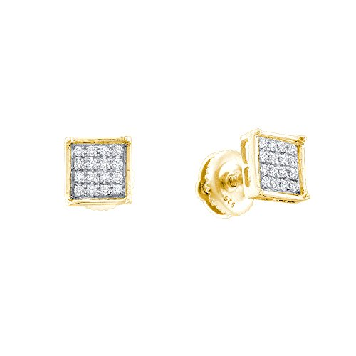 14kt Gold Birthstone Cluster Earrings (14kt Yellow Gold Womens Round Diamond Square Cluster Earrings 1/10 Cttw (I2-I3 clarity; J-K color))