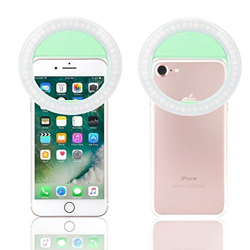 Selfie Ring Light, XINBAOHONG Rechargeable Portable Clip-on Selfie Fill Light 36 LED iPhone/Android Smart Phone Photography, Camera Video, Girl Makes up (Green, 48LED)