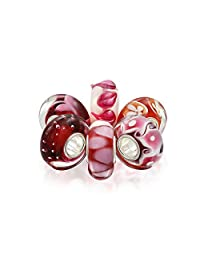 Pink Red White Murano Glass Mix Of 6 Sterling Silver Core Spacer Bead Fits European Charm Bracelet For Women For Teen