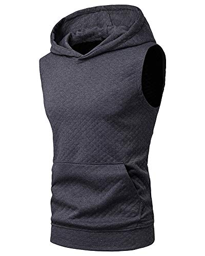 Mens Grey Sleeveless Hoodies - Tank Tops Fitness Pullover Workout Clothes for Men L