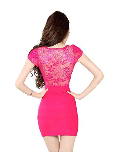La Sra Discoteca Vestido Halter De Encaje Con Cuello En V Multi-color De Varios Tamaños Red