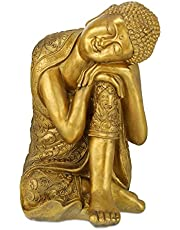 Relaxdays Boeddha figuur tuin, weerbestendig en vorstbestendig, XL tuinboeddha rustend, tuinfiguur, h x b x d: 61 x 40 x 37 cm, goud