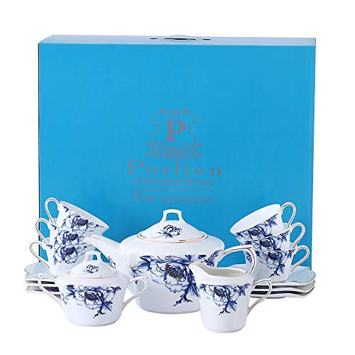 Porlien 17-Pc Bone China Tea Set-Blue Flower Trimmed in Gold-Cups and Saucers Set with Teapot, Sugar Bowl & Milk Jug