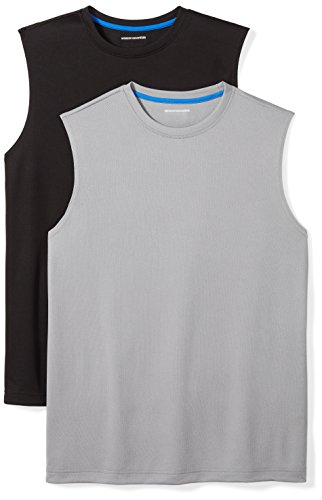 Amazon Essentials Men's 2-Pack Performance Muscle T-Shirts, Black/Medium Grey, X-Large