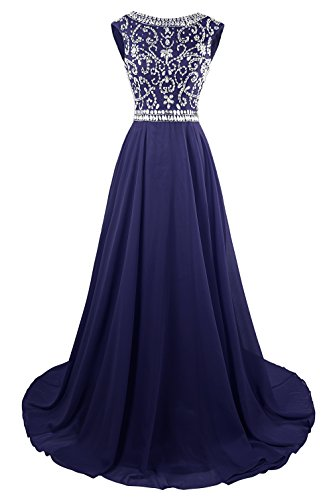 MsJune Long Prom Dresses Cap Sleeves Bridesmaid Wedding Guest Gowns Beaded 2017 Navy Blue 8
