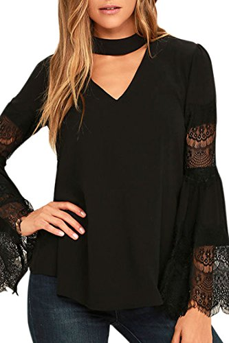 Black Long Sleeved Silk Top (Selowin Ladies Sexy V-Neck Long Lace Bell Sleeve Blouse T-Shirt Tops For Women Black M)
