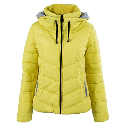 SODIAL (R) caliente de invierno nuevas mujeres coreanas adelgazan acolchada gruesa chaqueta acolchada abrigo Amarillo - L