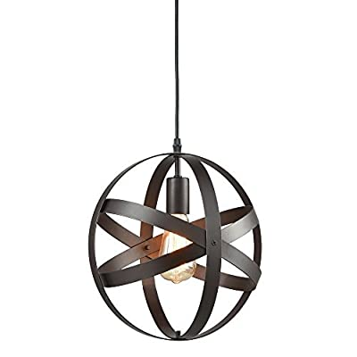 Industrial Spherical Pendant Light, KINGSO UL Listed Globe Hanging Light Bakelite Sphere Chandelier Atom Bar Lighting Antique Black Lantern Ceiling Light Cage Fixture For Porch Bedroom Kitchen