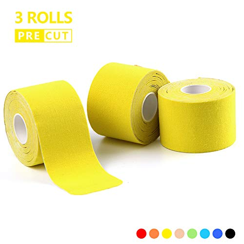 Aids Therapeutic - AUPCON Precut Kinesiology Tape Sports Muscle Tape Breathable Hypoallergenic Latex Free Water Resistant Ideal Pain Relief for Knee Shoulder Elbow Ankle Injury Recovery Therapeutic Aid Yellow 3 Rolls
