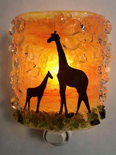 (Giraffes Mom Baby Serengeti Sunset Safari Fused Recycled Glass Art Night Light Nightlight Nitelite)