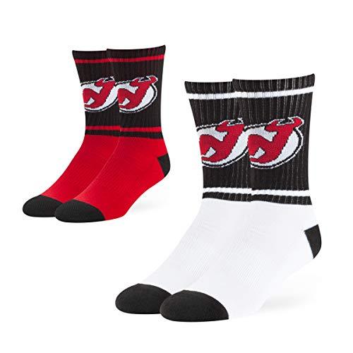 OTS NHL New Jersey Devils Men's Dasher Sport Socks (2 Pack), Team Color, Large