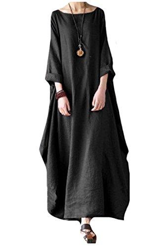 Coolred Femmes Taille Plus Solide Manchon Demi-tour De Cou Robe Occasionnel Noir