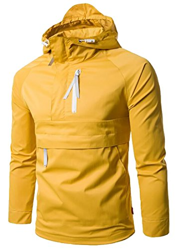 today-UK Men's Stylish Solid Light Weight Pullover Jackets Wind-Resistant Coat Yellow