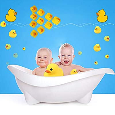 FVE 10Pcs Baby Bathing Bath Tub Toys Mini Rubber Squeaky Float Duck Yellow: Office Products