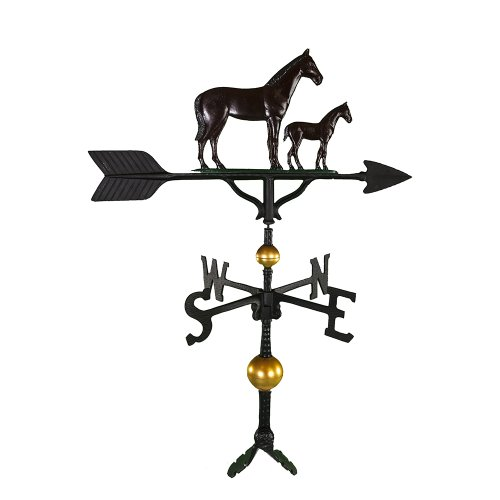 Montague Metal Products 32-Inch Deluxe Weathervane with Color Mare and Colt Ornament