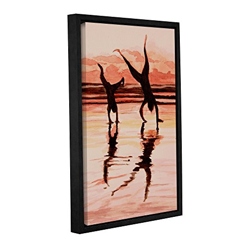 ArtWall Lindsey Janich 'Beach Buddies Handstand' Gallery-Wrapped Floater-Framed Canvas Artwork, 24 by 36