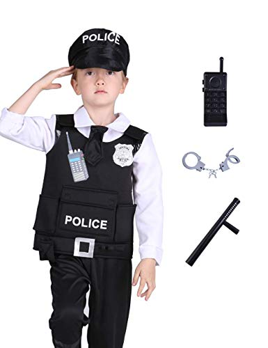 Familus Unisex Police Costume for Kids with Deluxe Cop Accessory Gift
