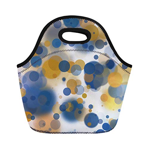 - Semtomn Neoprene Lunch Tote Bag Navy Abstract Gold and Blue Bokeh on Yellow Bridal Reusable Cooler Bags Insulated Thermal Picnic Handbag for Travel,School,Outdoors,Work