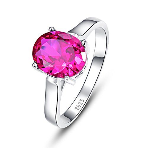 Oval Cut Created Ruby (BONLAVIE Women's Solid.925 Sterling Silver 3 ct Oval Cut Created Ruby Solitaire Engagement Rings Size 6)