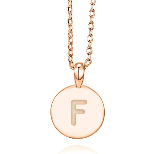 (PAVOI 14K Rose Gold Plated Letter Necklace for Women   Gold Initial Necklace for Girls   Letter)