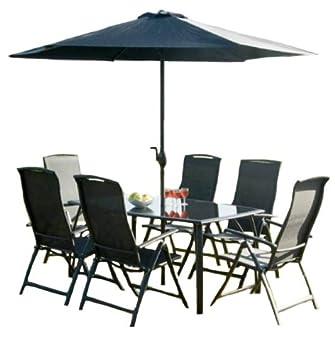 Havana Lot de 6 places Noir W/1.6 m Table rectangulaire, 6 chaises ...