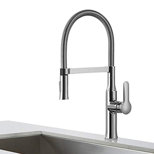 BAKALA Kitchen Faucets High Arc Brushed Nickel Pull Out Spray Head Single Handle Commercial Kitchen Faucet with Dual Function