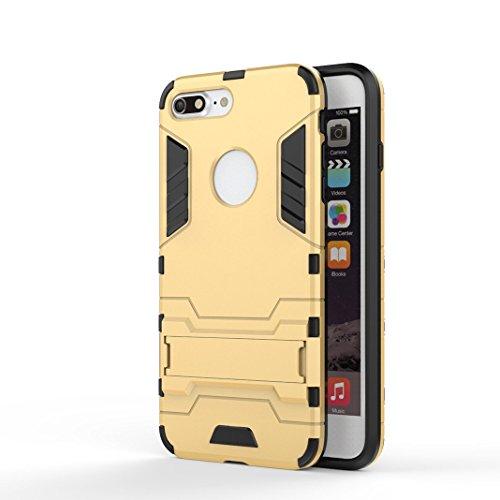 OuDu iPhone 7 PLUS Hülle, Rüstungs Series Hülle für iPhone 7 PLUS TPU Silikon Etui Matte Harte Rückseite Schutzhülle Hard Tough Case Cover Hybride Dual-Layer Shell Logo Ausschneiden Tasche Schwerlast