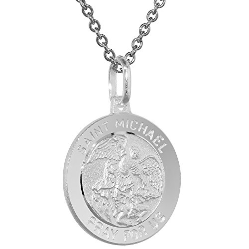 (Sterling Silver St Michael Medal Necklace 3/4 inch Round Italy )