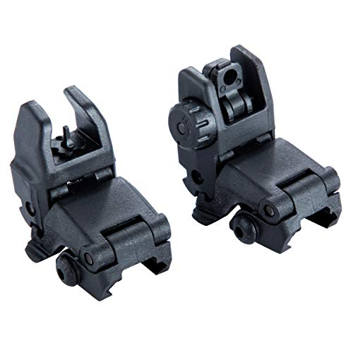 JINZE Front and Rear Iron Sight, Airsoft Flip Up Backup Sights, Tactical Folding Sights, Polymer Black (Flip Up Rear Iron Sights)