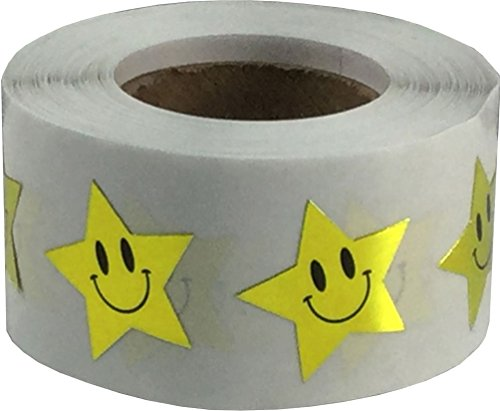 Gold Smiley Face Star Stickers, 3/4 Inch Wide, 500 Labels on a Roll