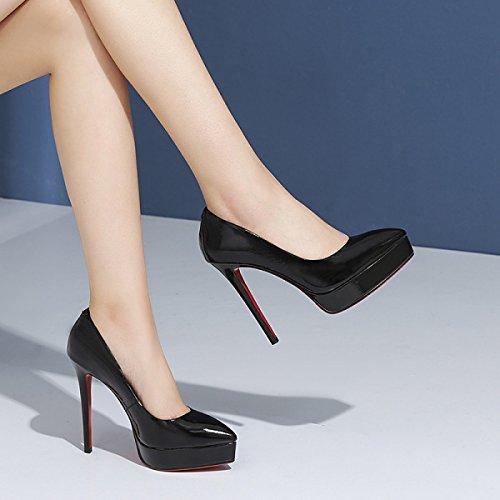 Chaussures à Talons Fermés Pour Femmes Talons Hauts Avec Escarpins à Talons Compensés Pour Robe De Mariée Black EaURW
