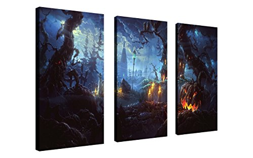 Horror Face Painting Ideas (NAN Wind Pumpkin Lantern in Dark Creepy Forest with Dark Clouds Haunted House Painting Creepy Halloween Wall Art Painting Pictures Festival Art Print Print On Canvas The Picture For Home Modern Decor)
