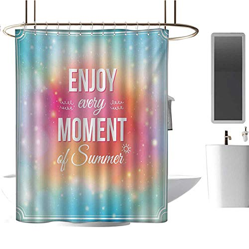 Inspirational Shower Curtains 3D Digital Printing Enjoy Every Moment of Summer Quote on Hazy Tone Background Artwork Bathroom Decor Set with Hooks Turquoise Pink Orange