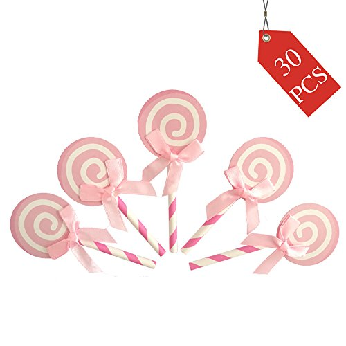 We Moment Pink Lollipop Cupcake Toppers,for Baby Shower Party Girls Birthday Table Decoration Graduation Marriage Engagement Anniversary Birthday Valentines Party Cake Decorations (Lollipops Shower)