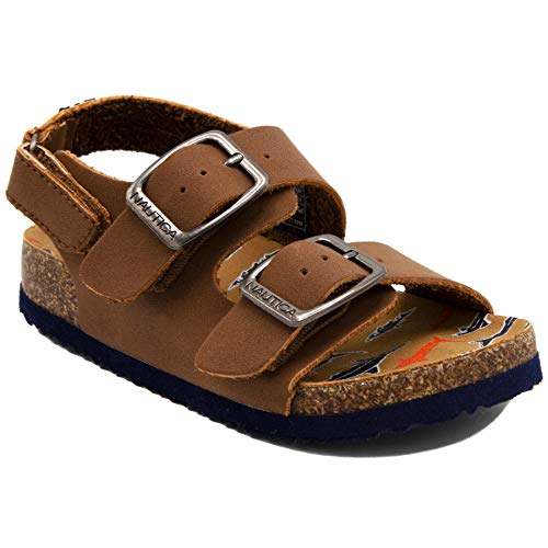 Nautica Kids Grant Toddler Open Toe Sandal 2 Buckle Straps Comfort Slide Outdoor Back Strap Casual Sandals -Tan Shark-11